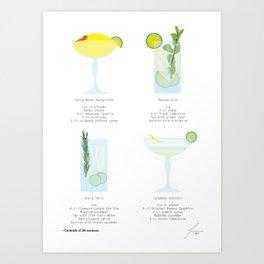 Mixology Cocktail Poster 4-pieces #2 Art Print