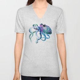 Octopus, Turquoise Green Purple Pink Octopus Design Unisex V-Neck