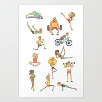 gym Art Prints featuring Gym Buddies by Sid's Shop