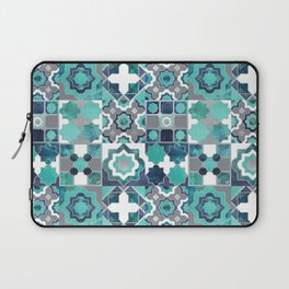 Spanish moroccan tiles inspiration // turquoise green silver lines Laptop Sleeve