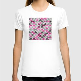 Pink, Silver and Cranberry Mermaid Scales Pattern T-shirt