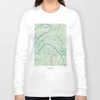 vintage map Long Sleeve T-shirts featuring Paris Map Blue Vintage by City Art Posters