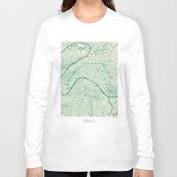 paris map Long Sleeve T-shirts featuring Paris Map Blue Vintage by City Art Posters