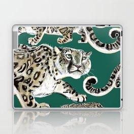 Snow leopard in green Laptop & iPad Skin