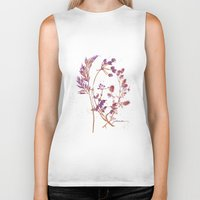 botanical Biker Tanks featuring Botanical 1 by JoanAHamilton