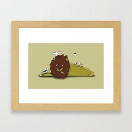 Nella voliera all'ora del pranzo dei leoni Framed Art Print