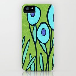 Hippie Flower Garden turquoise and avocado iPhone Case