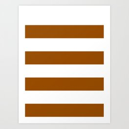 Wide Horizontal Stripes - White and Brown Art Print