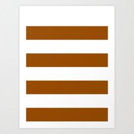 Wide Horizontal Stripes - White and Brown Art Print