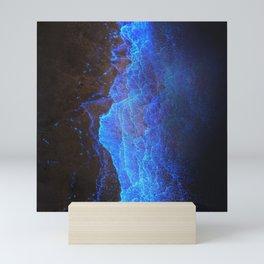 Night Ocean Glowing Waves - Bioluminescent Plankton Mini Art Print