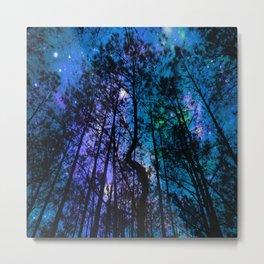 Black Trees Teal Purple Space Metal Print