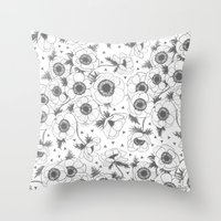oana befort Throw Pillows featuring Anemone by Oana Befort