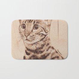Bengal Cat Portrait - Drawing by Burning on Wood - Pyrography art Bath Mat