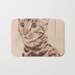 Bengal Cat Portrait - Drawing by Burning on Wood - Pyrography art Bath Mat