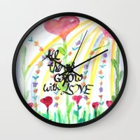 love quotes Wall Clocks featuring Love Quotes by Just Creative Julia