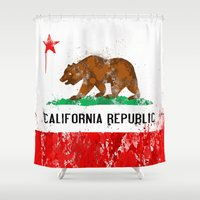 flag Shower Curtains featuring California Flag by Evan