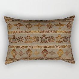 Maya / Aztec  pattern Burn gold on canvas Rectangular Pillow