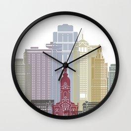 Kansas City skyline poster Wall Clock
