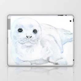 Baby Harp Seal Watercolor Laptop & iPad Skin