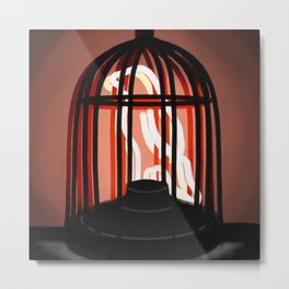 Bird in a cage neon sign Metal Print