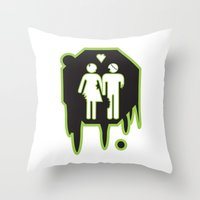 zombies Throw Pillows featuring Zombies by JJ Fry