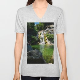 small waterfall in Corsica Unisex V-Neck