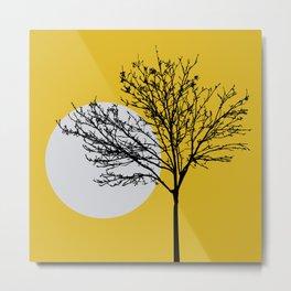 Minimalist Tree At Sunset Metal Print