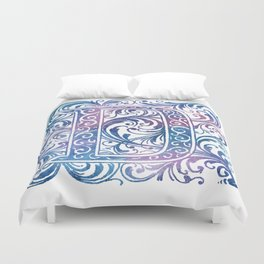 Letter D Antique Floral Letterpress Monogram Duvet Cover