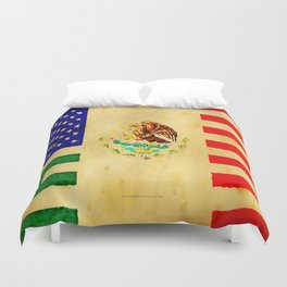 MEXICAN AMERICAN FLAG - 017 Duvet Cover