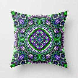 Boho Kaleidoscope Floral Pattern Var. 4 Throw Pillow