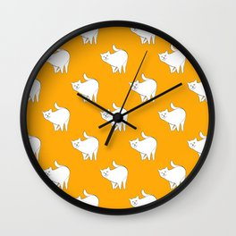 Cute Cats Pattern | Yellow Wall Clock