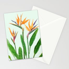 bird of paradise flower painting Stationery Cards