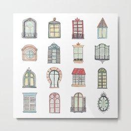 Paris windows watercolor Metal Print