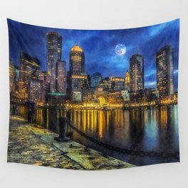Downtown At Night Wall Tapestry