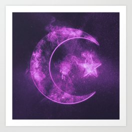 Symbol of Islam. Star and crescent moon. Abstract night sky background. Art Print