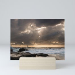 sailing vessel waves coast distance evening Mini Art Print