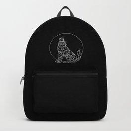 Geo Wolf - White on Black Backpack