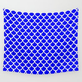 Scales (White & Blue Pattern) Wall Tapestry