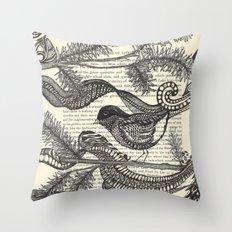 Bird in the Pines Throw Pillow