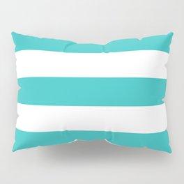 Maximum blue green - solid color - white stripes pattern Pillow Sham