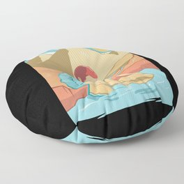 Gold panning on the river in the mountains Floor Pillow