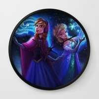 frozen Wall Clocks featuring frozen by KATIE PAYNE