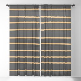 VA Bright Marigold - Spring Squash - Pure Joy - Just Ducky Hand Drawn Horizontal Lines on Black Sheer Curtain