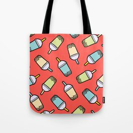 Bubble Tea Pattern in Red Tote Bag