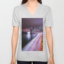 City Lights Highway Unisex V-Neck