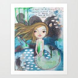 graffiti mermaid Art Print