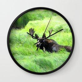 Watercolor Moose Bull 19, East Inlet Trail, RMNP, Colorado, Field of Greens Wall Clock