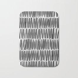 Inspired by Nature   Black & White Organic Line Texture Elegant Minimal Simple Bath Mat