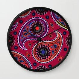 Oriental Persian Paisley, Dots - Red Blue Pink Wall Clock
