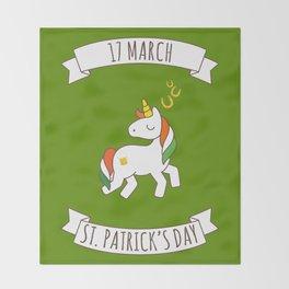 St. Patrick's Day Unicorn 2 Throw Blanket